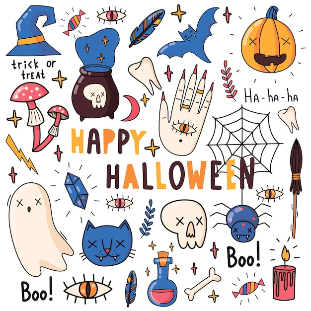 Set of elements for halloween. pumpkin, poison, witches broom, candy, boo, cat, ghost, bat, crystal, mushrooms, skull. flat illustrations. Premium Vector