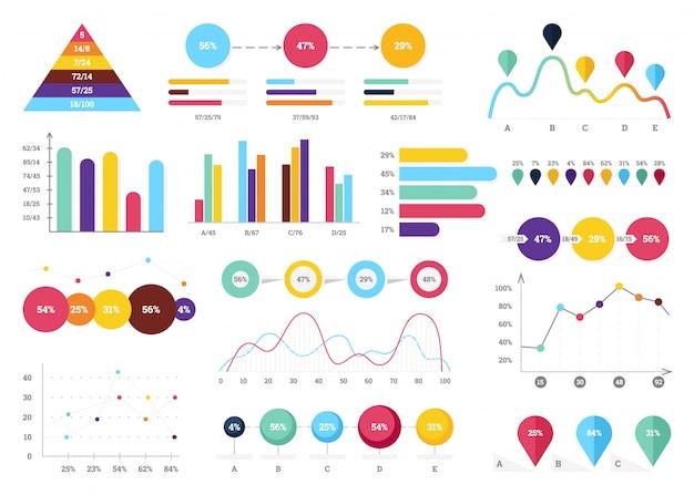 Set elements of infographics. info bars, graphycs. Premium Vector