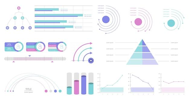 Установить элементы инфографики Бесплатные векторы