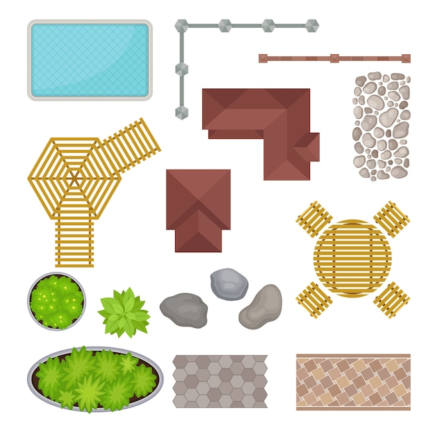 Set of elements of the park. view from above.  illustration. Premium Vector