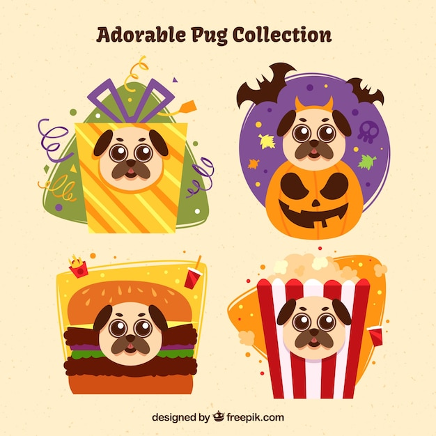Set of elements with pug faces Free Vector