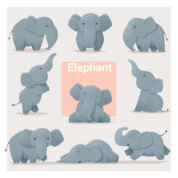 Set of elephant family Premium Vector