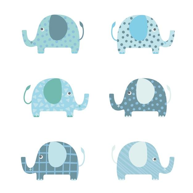 set elephants cartoon vector vector premium download