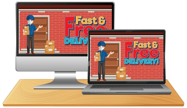 Set of eletronic devices with delivery man on screen Free Vector