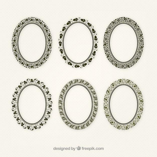 Set di cornici ornamentali ellisse Vettore gratuito