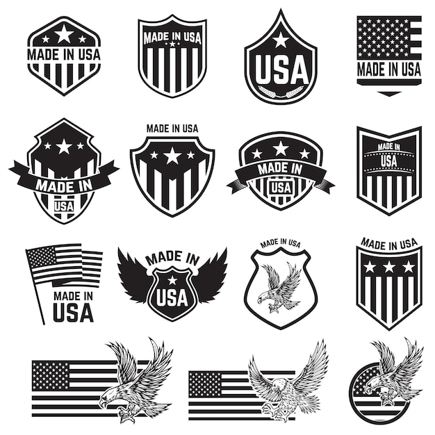 Set of emblems with usa signs.  elements for poster. card, sign.  illustration Premium Vector