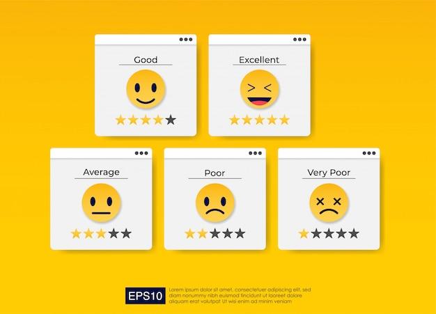 Set of emoji colored icons for customer feedback. Premium Vector
