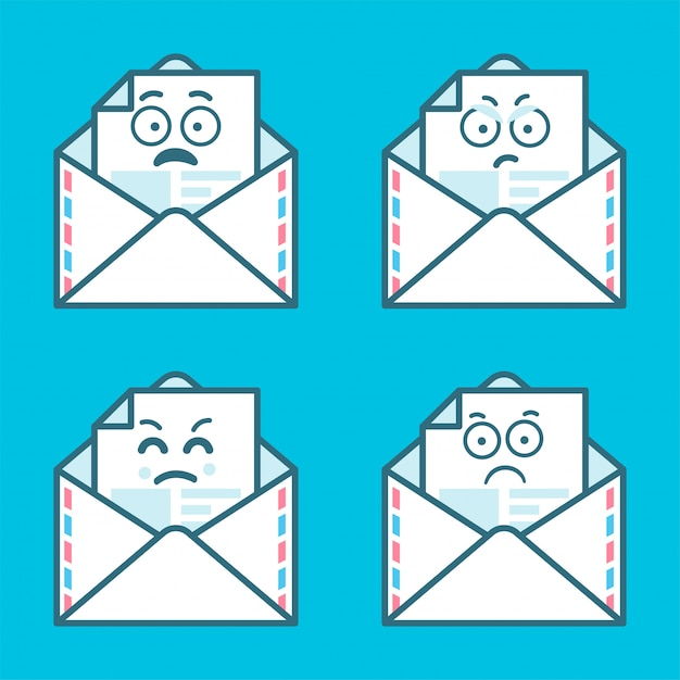 Set of emoji messages in letters. concept of angry, sad smile. Premium Vector