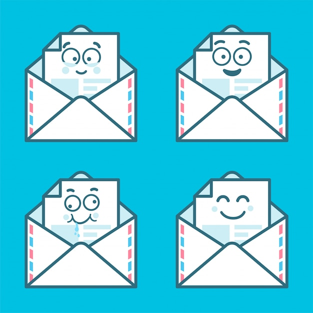 Set of emoji messages in letters. concept of happy, new sms, chat. Premium Vector