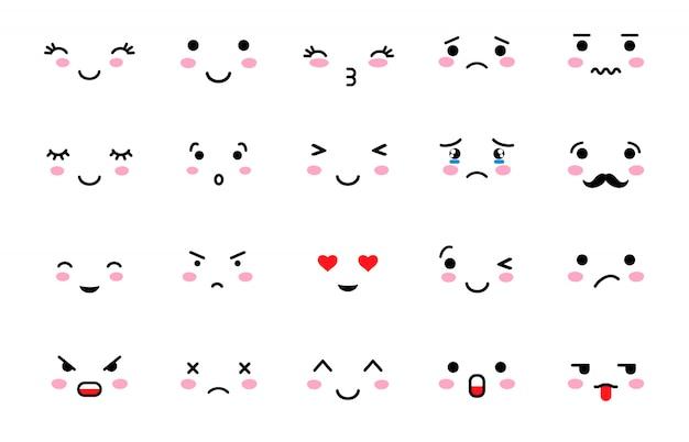 Set of emoji with different mood. Premium Vector