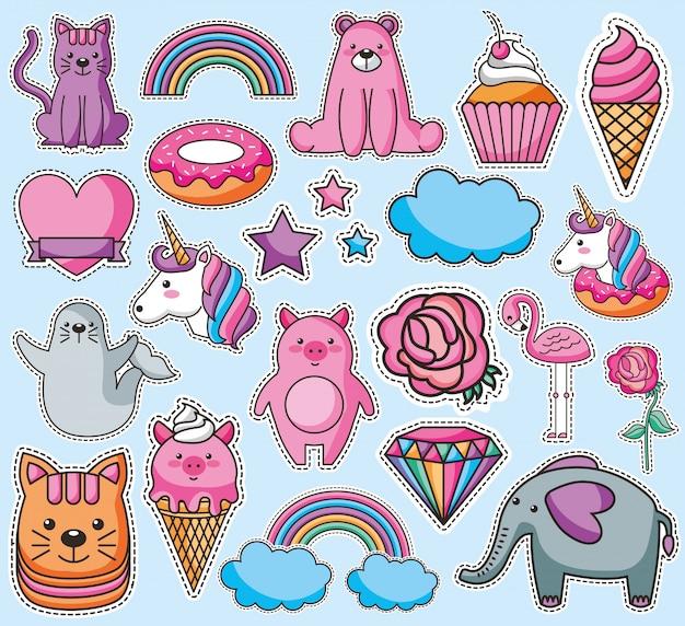 Set di emoji kawaii personaggi Vettore gratuito