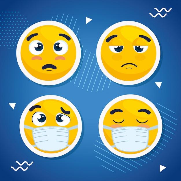Набор смайликов в медицинской маске, лица смайликов в хирургической маске иконки векторная иллюстрация дизайн Premium векторы