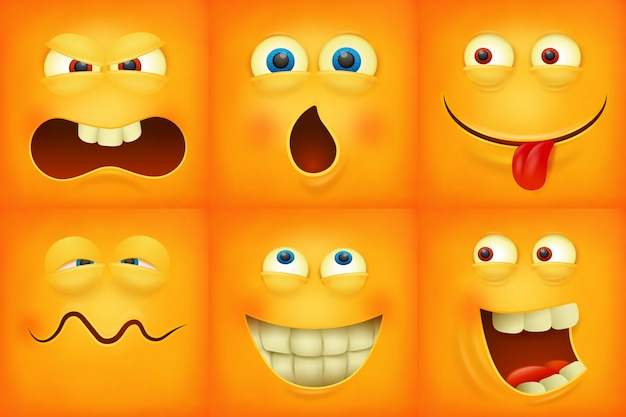 Set of emoticons yellow faces emoji characters icons Premium Vector