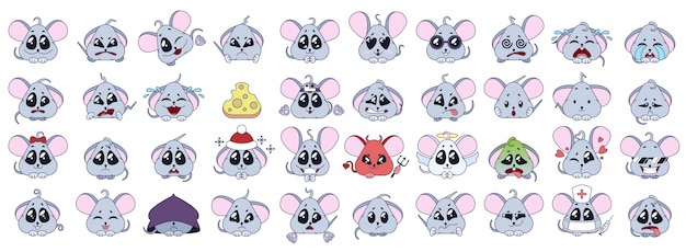 The set of emotions the mouses. Premium Vector