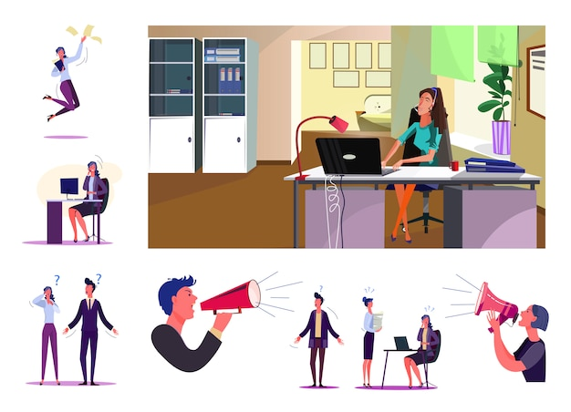 Set of employees during working process Free Vector