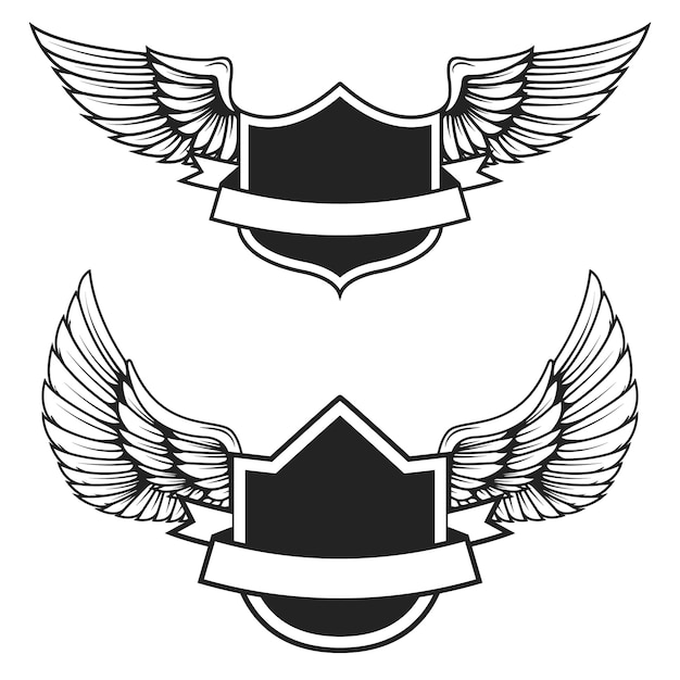 Set of the empty emblems with wings.  elements for , label, badge, sign.  illustration Premium Vector