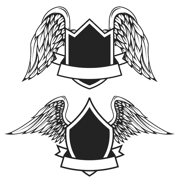 Set of the empty emblems with wings.  elements for logo, label, badge, sign.  illustration Premium Vector