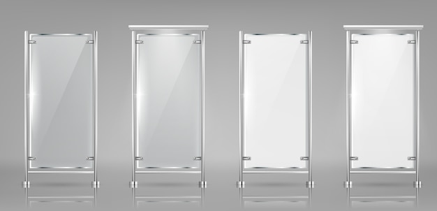 Set of empty glass banners on metal racks, transparent and white displays Free Vector