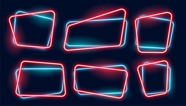 Set of empty glowing neon frames banner Free Vector