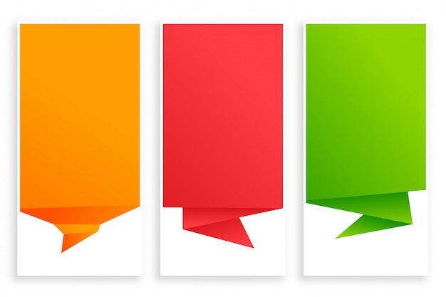 Set of empty origami chat bubble banner Free Vector