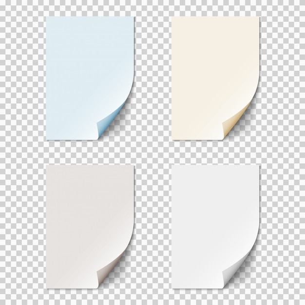 Set of empty paper sheets with curled corners Premium Vector
