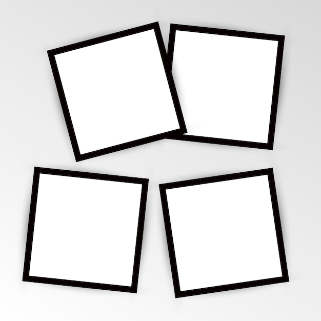 Set of empty photo frame with black border and white rectangle element. instant photo frame card   template decoration for design. Premium Vector