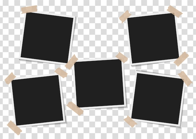 Set of empty photo frames with adhesive tape on transparent background Premium Vector