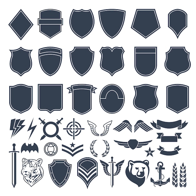 Set of empty shapes for military badges. army monochrome symbols Premium Vector