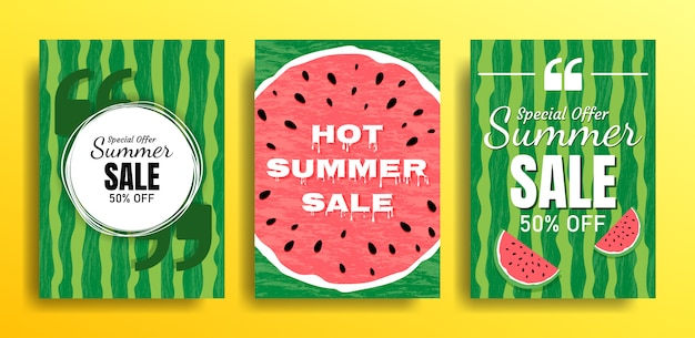 Set of empty templates with summer themes on a watermelon background. design of advertising banners.