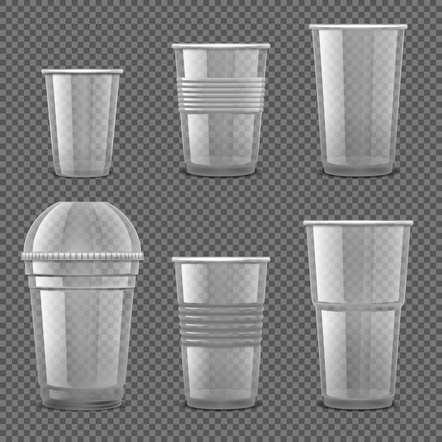 Set of empty transparent plastic disposable cups isolated Premium Vector