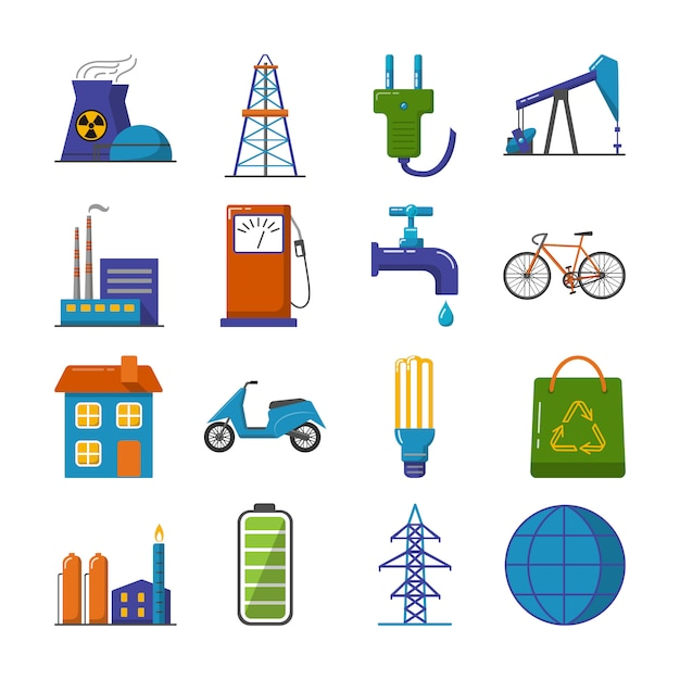 Set of energy and ecology flat icons Premium Vector