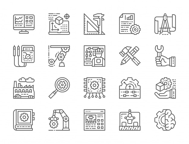 Set of engineering and manufacturing line icons Premium Vector
