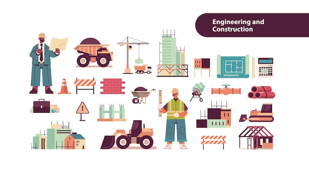 Set engineering tools icons with mix race architect and engineer in helmets working on construction site  isolated  copy space Premium Vector