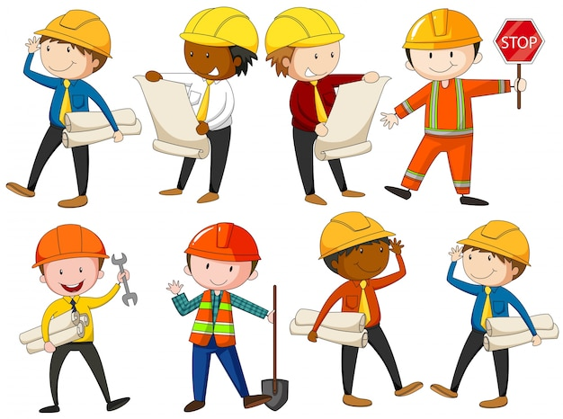 Set of engineers and construction workers illustration ...
