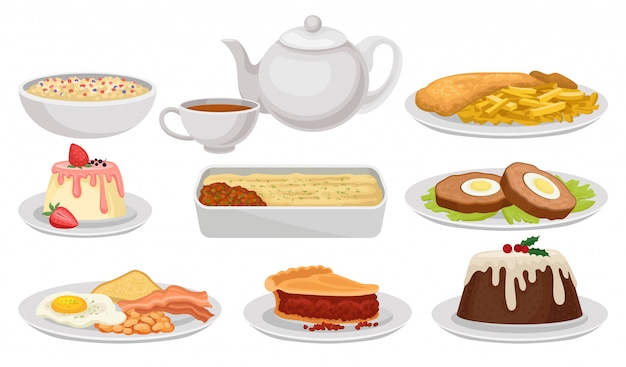 Set of english food. tasty dishes, desserts and tea. british cuisine. colorful   illustration  on white background. Premium Vector