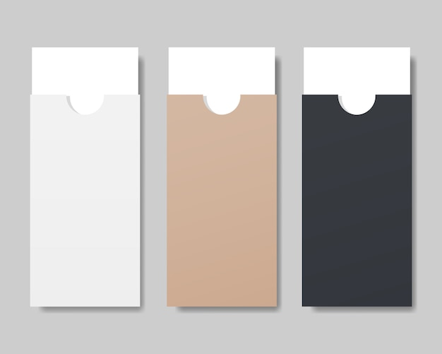 Set of envelope with white paper mockup. Premium Vector
