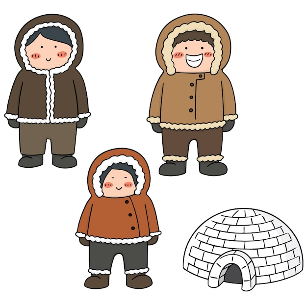 Set of eskimo Premium Vector