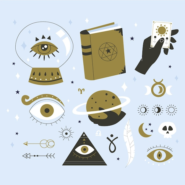 Set of esoteric elements Free Vector