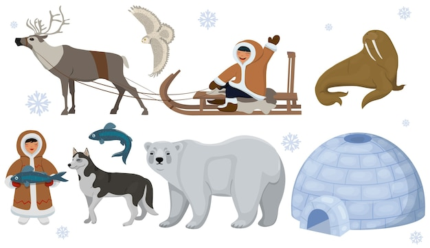 Set of ethnic eskimos with polar animals. polar owl, bear, walrus, deer.   isolated on white background. Premium Vector