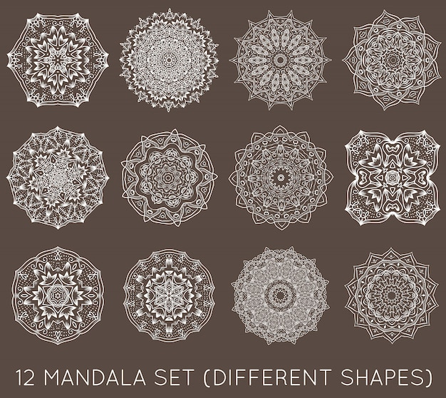 Set of ethnic fractal mandala vector meditation tattoo looks like snowflake or maya aztec pattern or flower too isolated on white Premium Vector