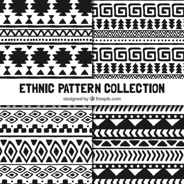 مجموعه ای از الگوهای قومی در سیاه و سفید