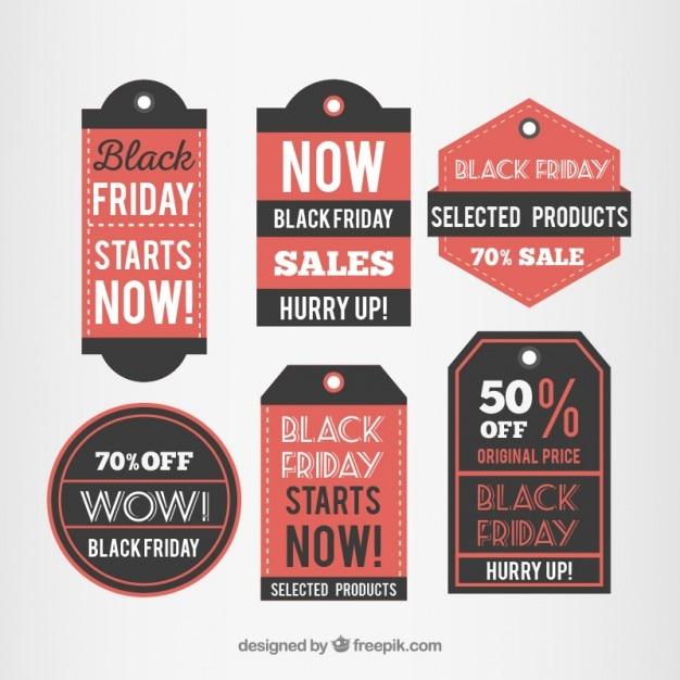 Установите etiqueta де черная пятница Бесплатные векторы