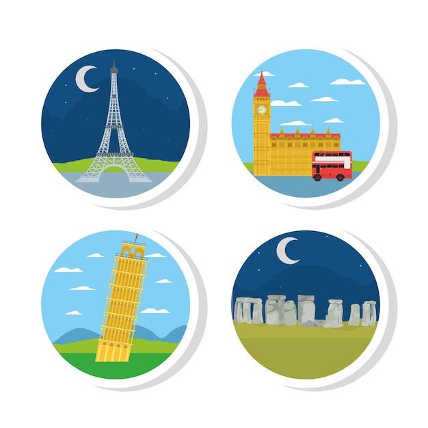 Set of europe monuments Premium Vector