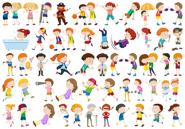 Set of exercise people character Free Vector