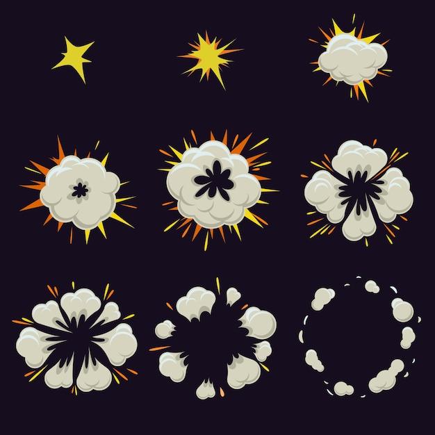 Set di effetto esplosione in stile fumetto comico. Vettore gratuito