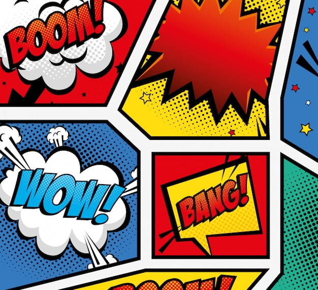 Set of expressions pop art style Premium Vector