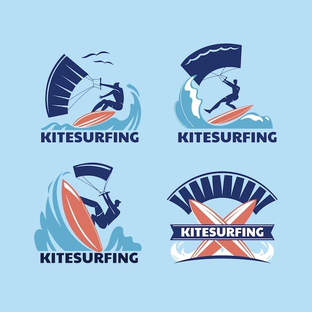 Set of extreme sport kitesurfing Premium Vector