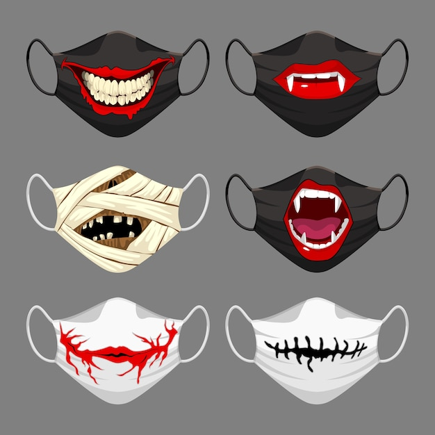 Set of fabric face mask. halloween face mask Premium Vector