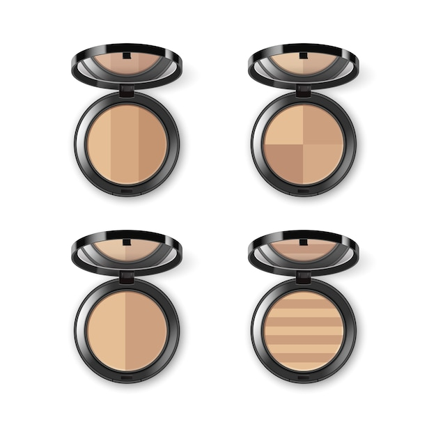 Set of face cosmetic makeup powder in black round Premium Vector