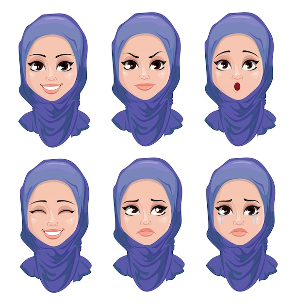 Set of face expressions of arabic woman Premium Vector